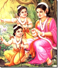 Sita Devi with Lava and Kusha
