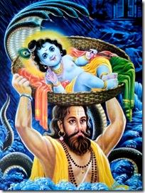 Vasudeva carrying his son Krishna