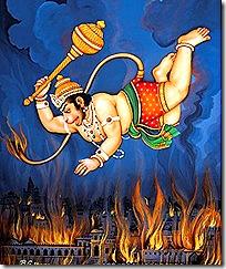 Hanuman setting fire to Lanka