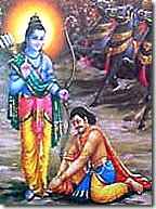 Lord Rama accepting Vibhishana