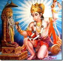 Hanuman worshiping Lord Rama deity