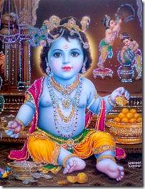 Krishna eating laddus