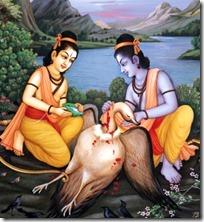 Rama and Lakshmana with Jatayu