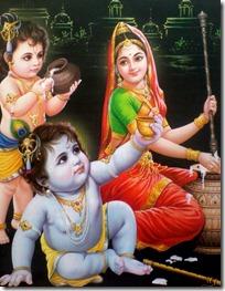 Mother Yashoda with Krishna and Balarama