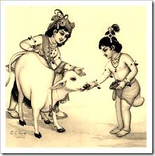 Krishna and Balarama with cow