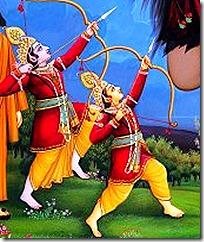 Lakshmana and Rama protecting Vishvamitra