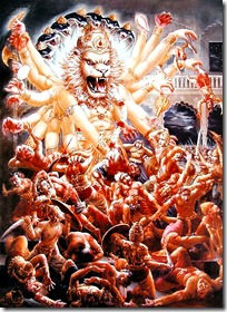 Narasimhadeva killing Hiranyakashipu's attendents
