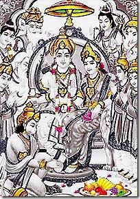 Rama Darbar with worshiping gods