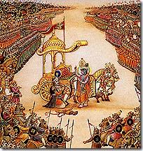 Arjuna's chariot on the battlefield