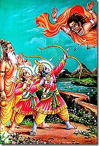 Rama and Lakshmana fighting Tataka