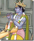 Offering Krishna a flower garland