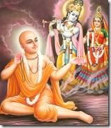 Lord Chaitanya worshiping Radha and Krishna