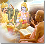 Prabhupada thinking of Krishna and Arjuna