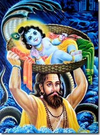 Vasudeva crossing the Yamuna with Krishna