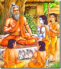 Shri Rama and brothers at the school of the guru