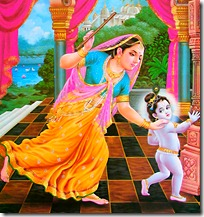 Mother Yashoda chasing Krishna