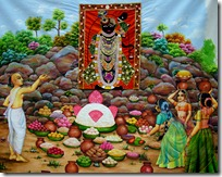 Worshiping Govardhana Hill