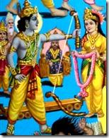Rama lifting up Shiva's bow