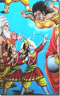 Rama and Lakshmana fighting demons