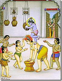 Krishna and friends stealing butter