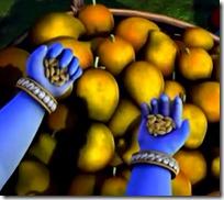 [Krishna giving grains to fruit vendor]