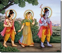 [Rama, Sita and Lakshmana in the forest]