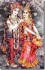 [Radha and Krishna in the forest]