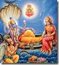 [Lord Vishnu being worshiped]