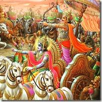 [Arjuna and Krishna on the battlefield]