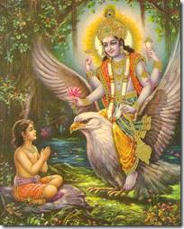[Vishnu coming to Dhruva]