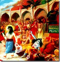 [Krishna annihilating the miscreant Kamsa]