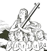 [Narada with the four Kumaras]