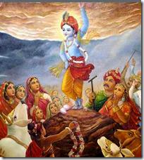 [Krishna lifting Govardhana Hill]