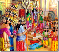 [Many Brahmas worshiping Krishna]
