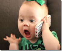 [baby talking on phone]