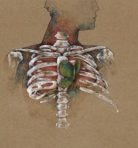 Heart Chakra Butterfly Skeleton Art Drawing