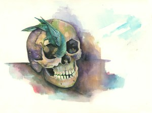 Looking For Left Overs Bird Skull Watercolor Painting