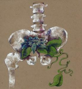 Root Chakra Skeleton Bones Flower Art Drawing