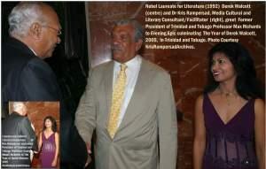 Dr Kris Rampersad hosts Evening Epic with Nobel Laureate Derek Walcott greets President Max Richards