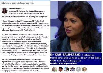Kris Rampersad recognised gender scholarender Scholar