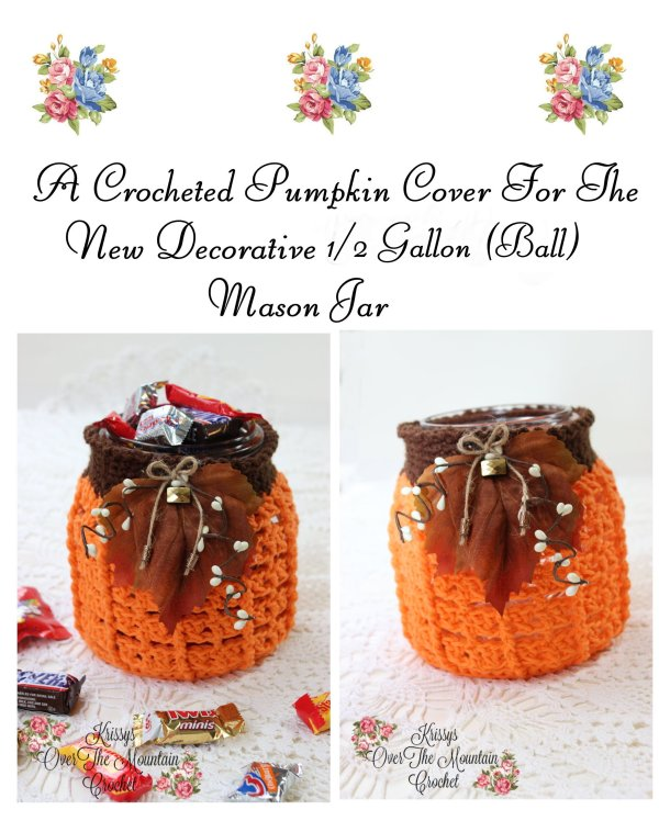 Use this crochet pattern to make a pumpkin cover for the new decorative 1/2 gallon mason jar. It's so decorative and can hold a large amount of candy or stuff it with battery operated lights for a warm glow.