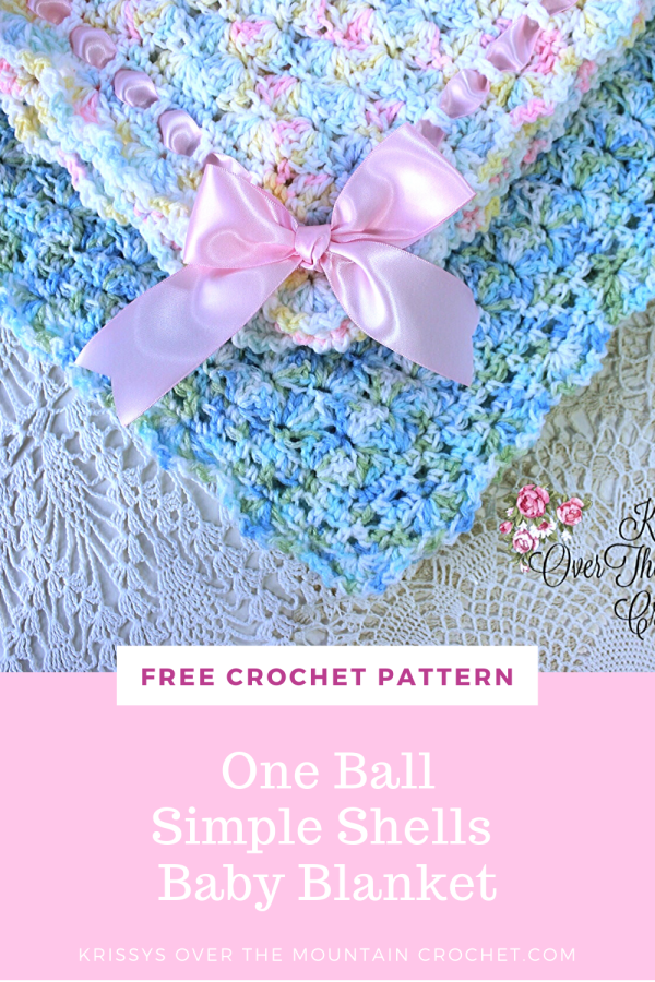 It's easy to make this blanket with one ball of Bernat Baby Sport yarn! So sweet when you add ribbon through the beading. Simple Shells Baby Blanket