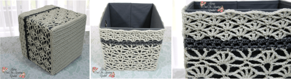 Crochet Lace Cover For Foldable Storage Bins. Free crochet pattern for the Over Brook Lace Storage BinCover