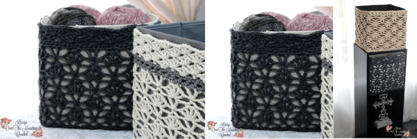 Crochet Lace Cover For Foldable Storage Bins. Free Crochet Pattern