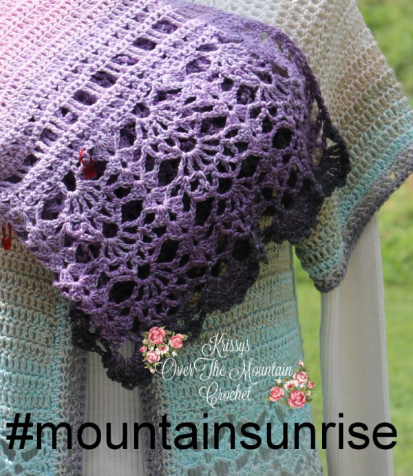Crochet this sweater so that you will be ready to see those mountain sunrise's. The colors are beautiful and this lightweight sweater will be what is needed while watching a morning sunrise in the mountains.