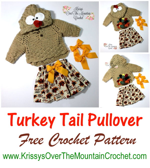 What an adorable Turkey Tail Pullover. Little girls will be so sweet this Thanksgiving season running around with a little bowed up turkey tail bouncing around in the back. Love the hood on this too. It has an astonished looking turkey who seems to be afraid of the farmer, who is eager to make him a guest at Thanksgiving Dinner.