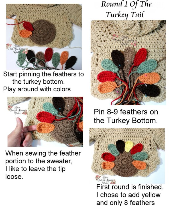 Let's sew those turkey feathers on to the turkey bottom to make this turkey tail applique!