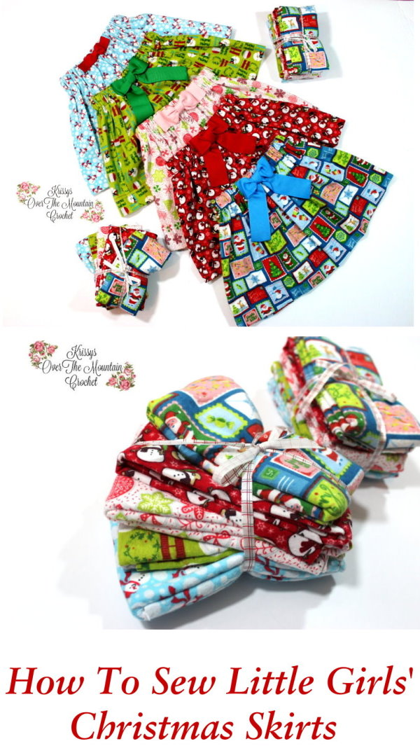 Let's sew Christmas skirts for little girls, using flannel fat quarters. Such a fast project! You can make all 5 skirts in a day! Embellish with bows and make a matching hair bow. Your little girls will be ready for the Christmas season.