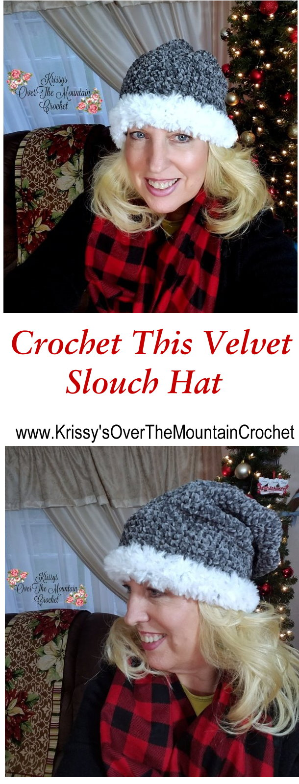 Crochet this velvet slouch hat in an evening. Add fake fur yarn to trim the brim. When you try on this cutie you won't want to take it off!