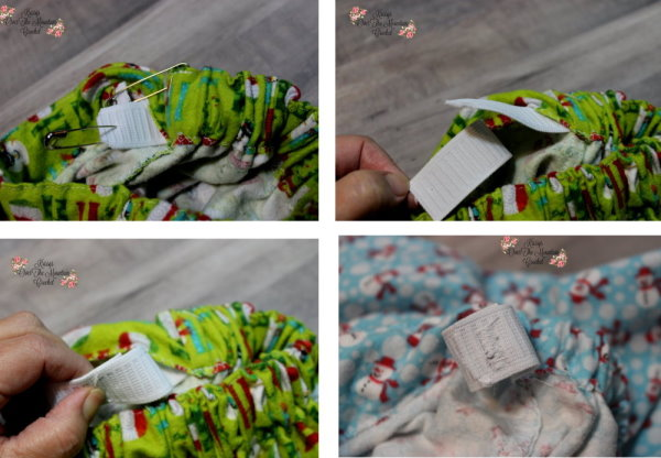 Let's sew the elastic together and then close the opening on the little girls Christmas skirt.